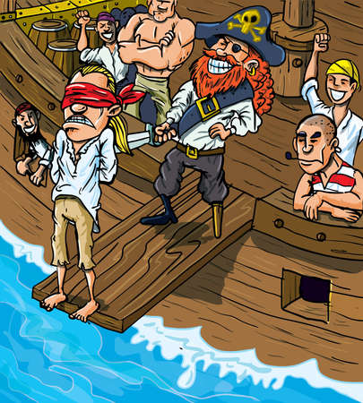 barco pirata: Caricatura pirata caminar por la plancha de un barco