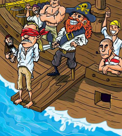 crane pirate: Pirate de bande dessin�e de marche de la planche d'un bateau