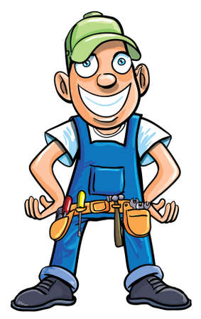 dělník: Cartoon údržbář s nástroji. Izolovaných na bílém