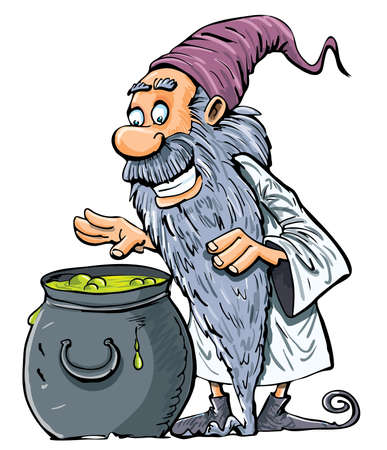 warlock: Cartoon Wizard with boiling cauldron. Isolated on white