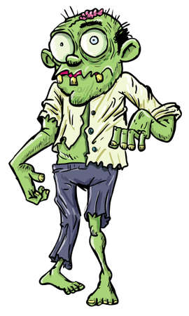 scary hand: Green cartoon businessman zombie. Isolated on white