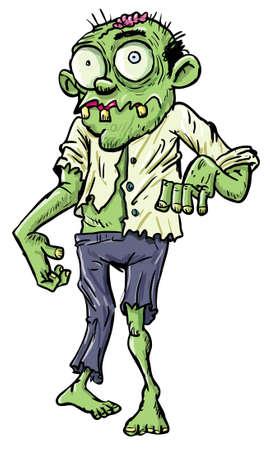creepy monster: Verde cartone animato zombie uomo d'affari. Isolato su bianco
