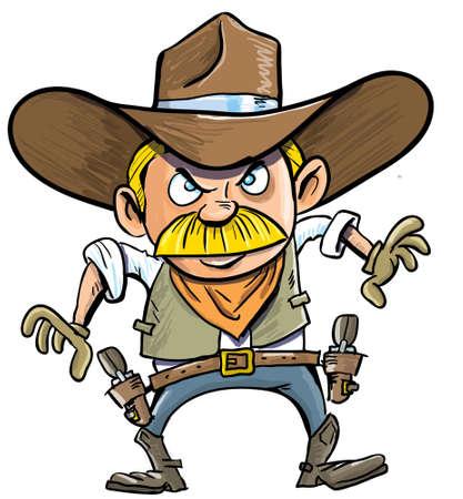 estereotipo: Vaquero lindo de la historieta con un cinturón de la pistola aislado en blanco
