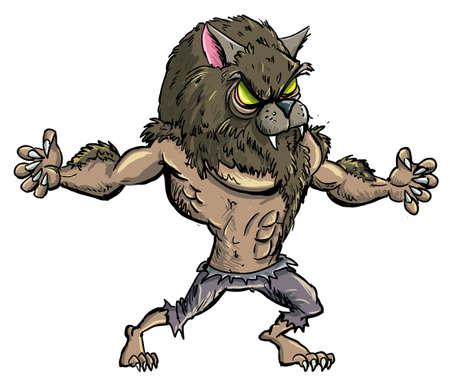 Cartoon werewolf with teeth and claws. Isolated