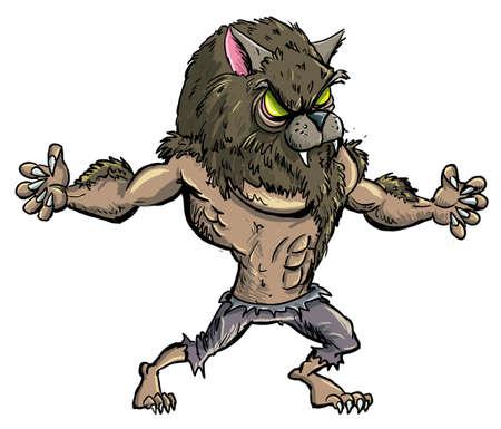 wilkołak: Wilkołak Cartoon z zębami i pazurami. Odizolowany Ilustracja