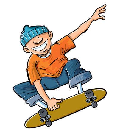 stunts: Cartoon del ragazzo che salta sul suo skateboard. Isolato su bianco Vettoriali