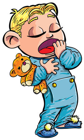 Cartoon of sleepy little boy yawning. He was a teddy. Isolated