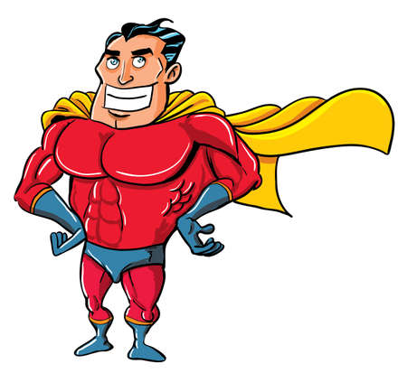 Cartoon Superhero in a classic pose. Isolated on white Vector
