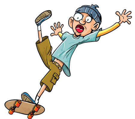 Cartoon skater falling of his skateboard  Isolated Illustration