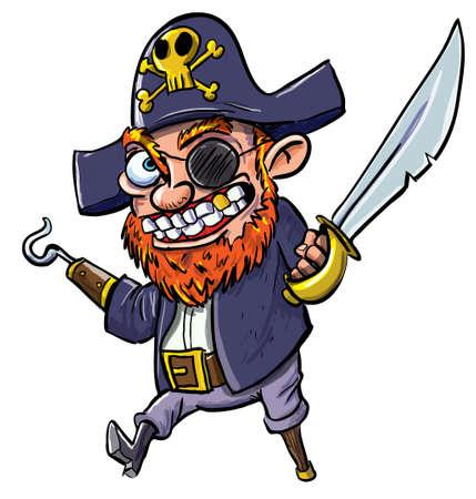 piratenhoed: Cartoon piraat met een haak en zwaard Geà ¯ soleerd op wit Stock Illustratie
