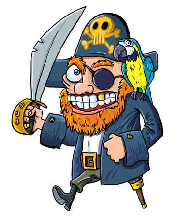 calavera pirata: Caricatura pirata con un machete y un loro aislado en blanco