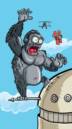 angry sky: Cartoon King Kong on a building swatting bi planes Illustration