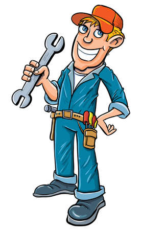 mecanico automotriz: Fontanero de dibujos animados que sostiene una llave. Aislado en blanco Vectores