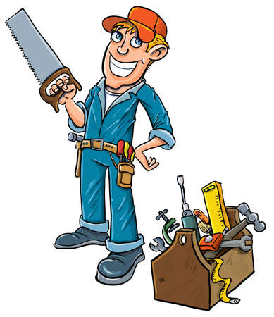 assembler: Cartoon handyman with toolbox. Isolated on white Illustration