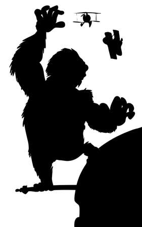 Silhouette King Kong hanging on a skyscraper with biplanes Vector