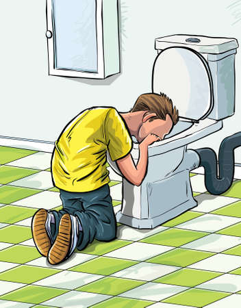 vomito: Cartoon enfermo en el baño después de beber a mucho adolescente. En un cuarto de baño