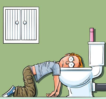 alcoholismo: Cartoon muchacho adolescente enfermo en el inodoro. Deseando que estaba muerto
