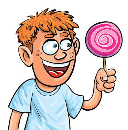 kid eat: Muchacho de la historieta comer caramelo con palo. Aislado en blanco