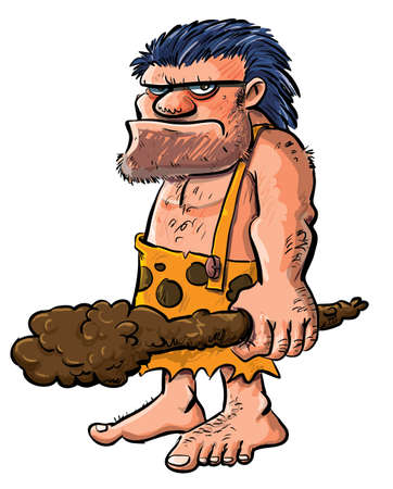 neanderthal: Cartoon caveman with a club.Isolated on white