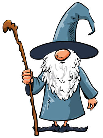 sorcerer: Simple Cartoon Wizard with staff. Isolated on white