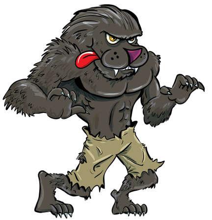 loup garou: Loup-garou de bande dessinée avec la langue. Isolé sur fond blanc Illustration