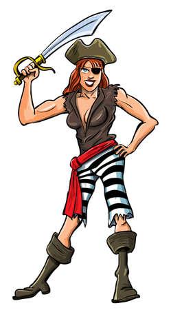 mujer pirata: Ilustración de dibujos animados pirata sexy lady. Aislado