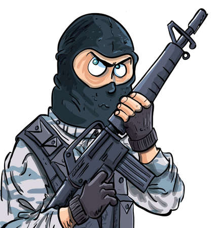 Cartoon SWAT member with a gun. Isolated on white Vector