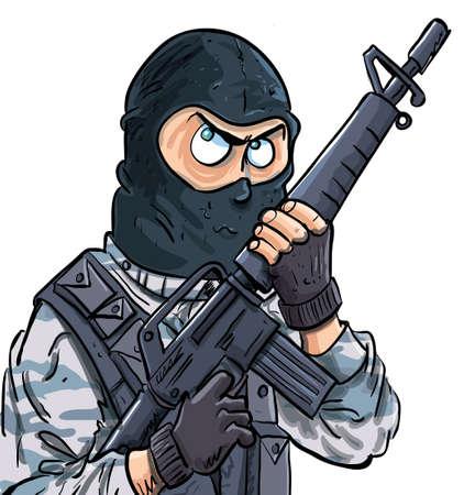 bulletproof: Cartoon SWAT miembro con un arma de fuego. Aislado en blanco