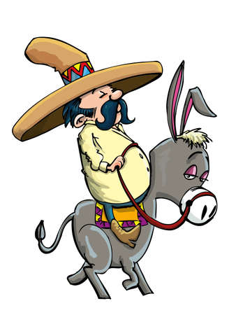Cartoon Mexican wearing a sombrero riding a donkey. Isolated Illustration