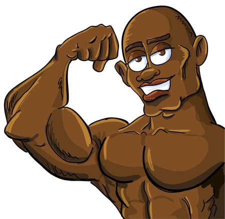 stereotype: Cartoon muscle man flexing his bicep. Isolated