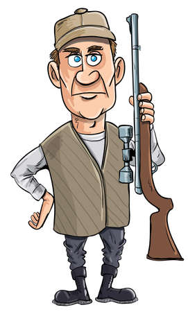 deer hunting: Cartoon hunter holding his gun. Isolated