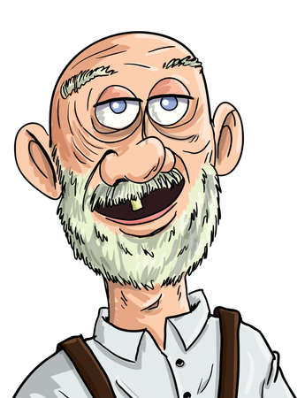 Cartoon old man with one tooth. Isolated Vector