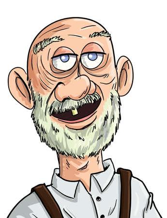 kel: Tek dişi Karikatür yaşlı adam. Yalıtılmış Çizim