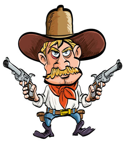 Cartoon cowboy with his guns drawn. Isolated on white Illustration
