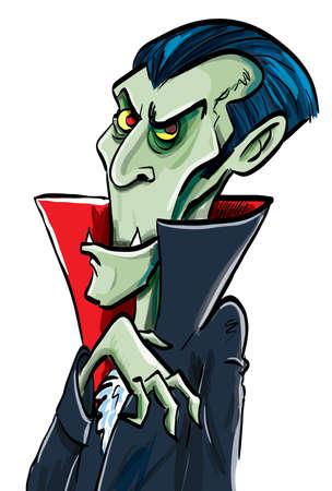 Cartoon comte Dracula. Sourires Isolé sur fond blanc
