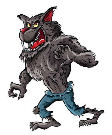 발톱과 이빨을 가진 만화 늑대 인간. 흰색에 고립