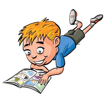 vie �tudiante: Cartoon boy lecture d'un livre comique. Isol� sur fond blanc