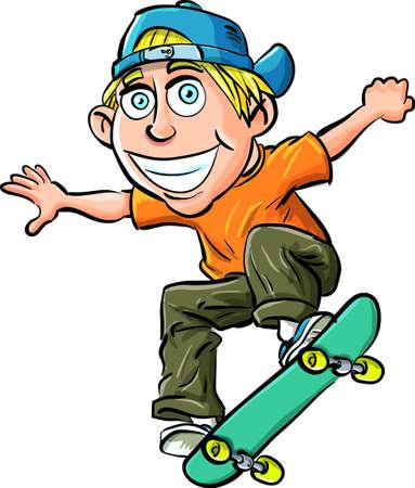 niño en patines: Caricatura de niño en un monopatín aislado en blanco Vectores