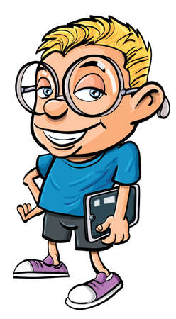 Cartoon nerd with glasses holding a tablet computer. Isolated Vector