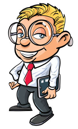 studious: Cartoon cute nerdy office worker with tablet pc