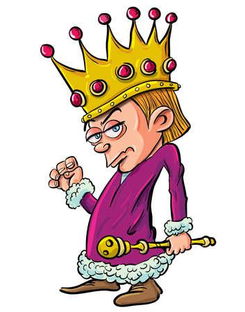 principe: Cartoon del male re bambino che guarda in possesso di un scepter.Isolated