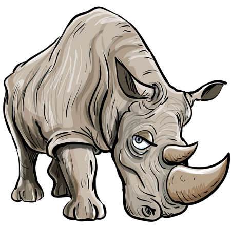 herbivore: Cartoon illustration of a rhino. Isolated Illustration