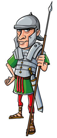 Cartoon Legionario Romano. Aislado en blanco
