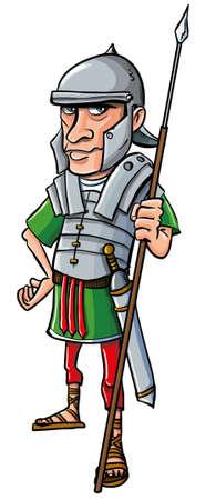 cascos romanos: Cartoon Legionario Romano. Aislado en blanco