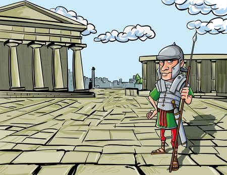 soldati romani: Standing Cartoon Legionario Romano di fronte a un tempio romano Vettoriali