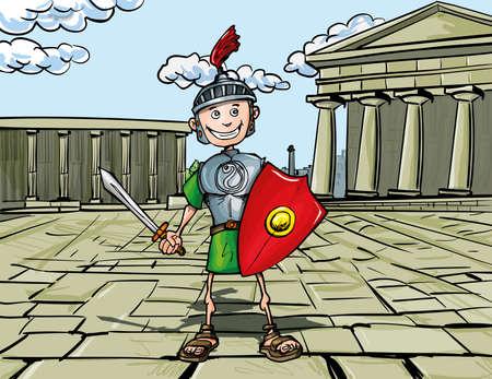 piedra laja: Cartoon Legionario Romano de pie delante de un templo romano Vectores