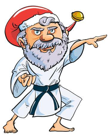 Cartoon Karate Santa Clause isolated on white Stock Illustratie