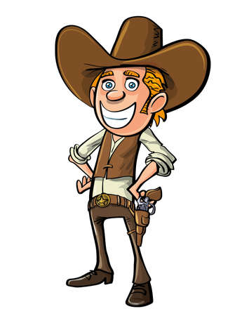 cowboy: Smiling cartoon cowboy isolated on white
