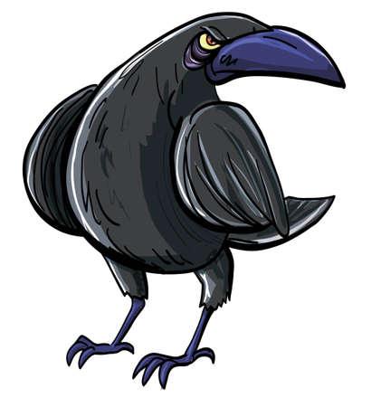 cuervo: Historieta del cuervo negro mal. Aislados en blanco Vectores