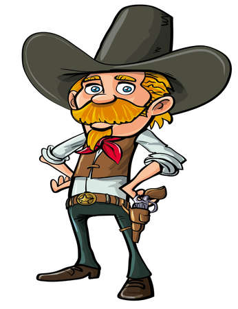 Carton cowboy with goatee, isolated on white